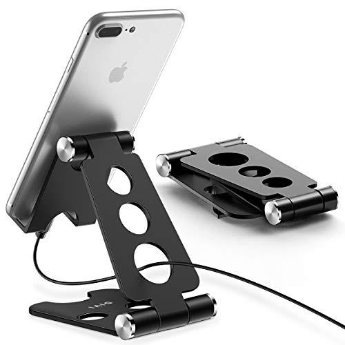 スマホスタンド・タブレット スタンド 【デュアル折り畳み式】 iPhone/iPad スタンド 角度調整可能 携帯スタンド Nintendo Switch 対応 充電スタンド アイフォン・iPad9.7・iPhone xs max/8Plus/5s・Samsung S8/note8/S3・ LG・ Sony Xperia・ Nexus 7等4-12.9inchデバイスに対応 プレイスタンド【DIVI】(ブラック)