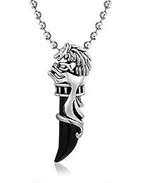 [ブリング?ジュエリー] Bling Jewelry ステンレス製 メンズ ブラック ホーン トライバル CZ 大ぶり 狼の歯 モチーフ ネックレス 50cm [インポート]