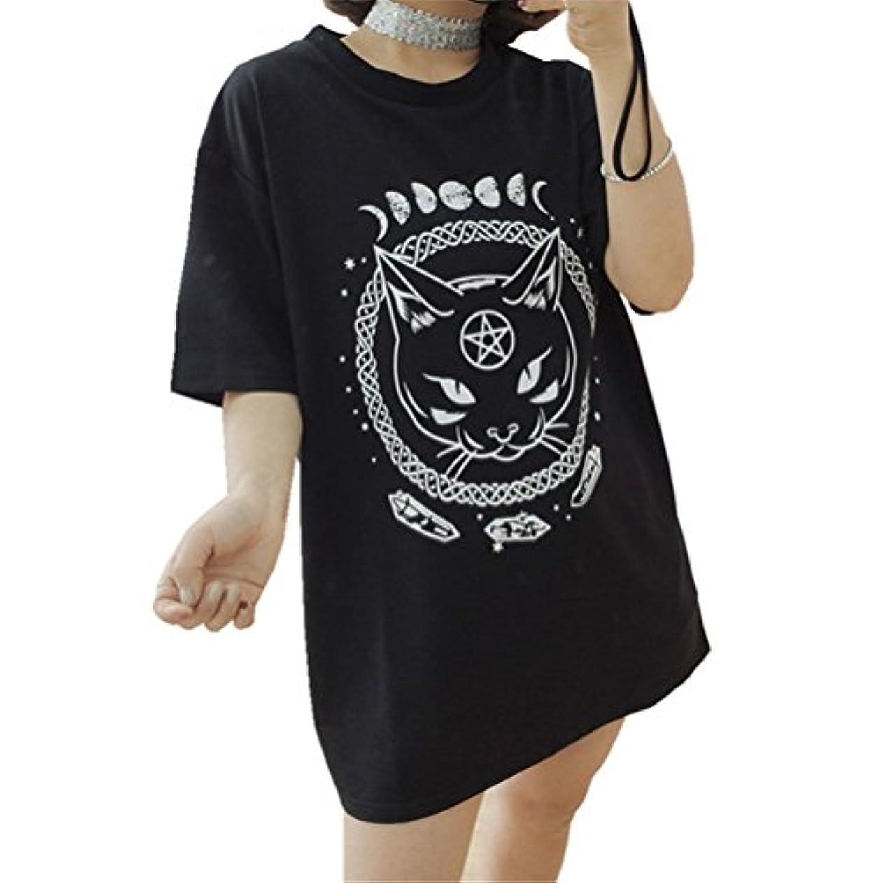 手のひら同様のひどく[Yangelo] Tシャツ レディース 半袖 猫柄 可愛い 個性的 星 月 プリントロング丈 着痩せ シンプル  カジュアル ゆったり 大きなサイズ  ワンピース ヒップライン