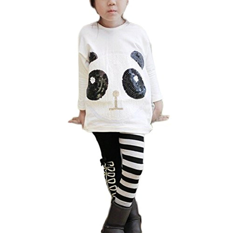 Sylvamorning パンダ ストライプ ベビー服 女の子 Tシャツ カジュアル ロングパンツ レジャー 上下セット セットアップ パーカー トレーナー スウェット キッズ トップス パンツ ズボン スポーツウェア