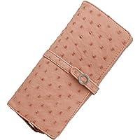 財布 オーストリッチ レザー 多機能 フラップ かぶせ 長財布 大容量