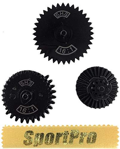 SHS製 14006 電動ガン メカボックス Ver 2,3用 16:1ギアセット メタル製 - ブラック 【SportPro クリーニングクロス付】