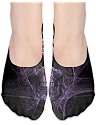 紫色の頭蓋骨はショーの靴下の女性のボートの靴のローファーのソックス、滑り止めのグリップを示しません