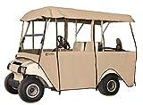 クラシックアクセサリーフェアウェイウッドデラックス4辺4-personゴルフカートエンクロージャ、タン