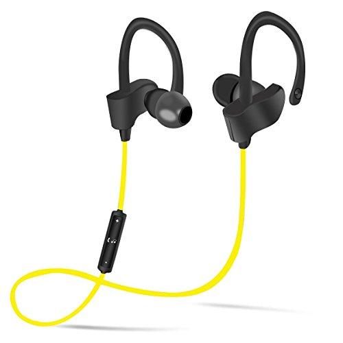 【ハロウィン特売】 BOYON  Bluetooth 4.1 56sインテリジェント ブルートゥース イヤホン ノイズキャンセリング搭載 防滴/防汗 耳掛け式ランニング用スポーツ ワイヤレスイヤホン カナル型 超小型 軽量 HD高音質 ハンズフリー通話 iphone/androidなど対応 黄色