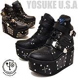 YOSUKE U.S.A ヨースケ 厚底 ブーツ メンズ スニーカーブーツ ショートブーツ 25.5cm ブラック