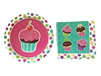 Cupcake Party - Girls Birthday Party Plates Set - Cupcake Luncheon Napkins - 10 Plates