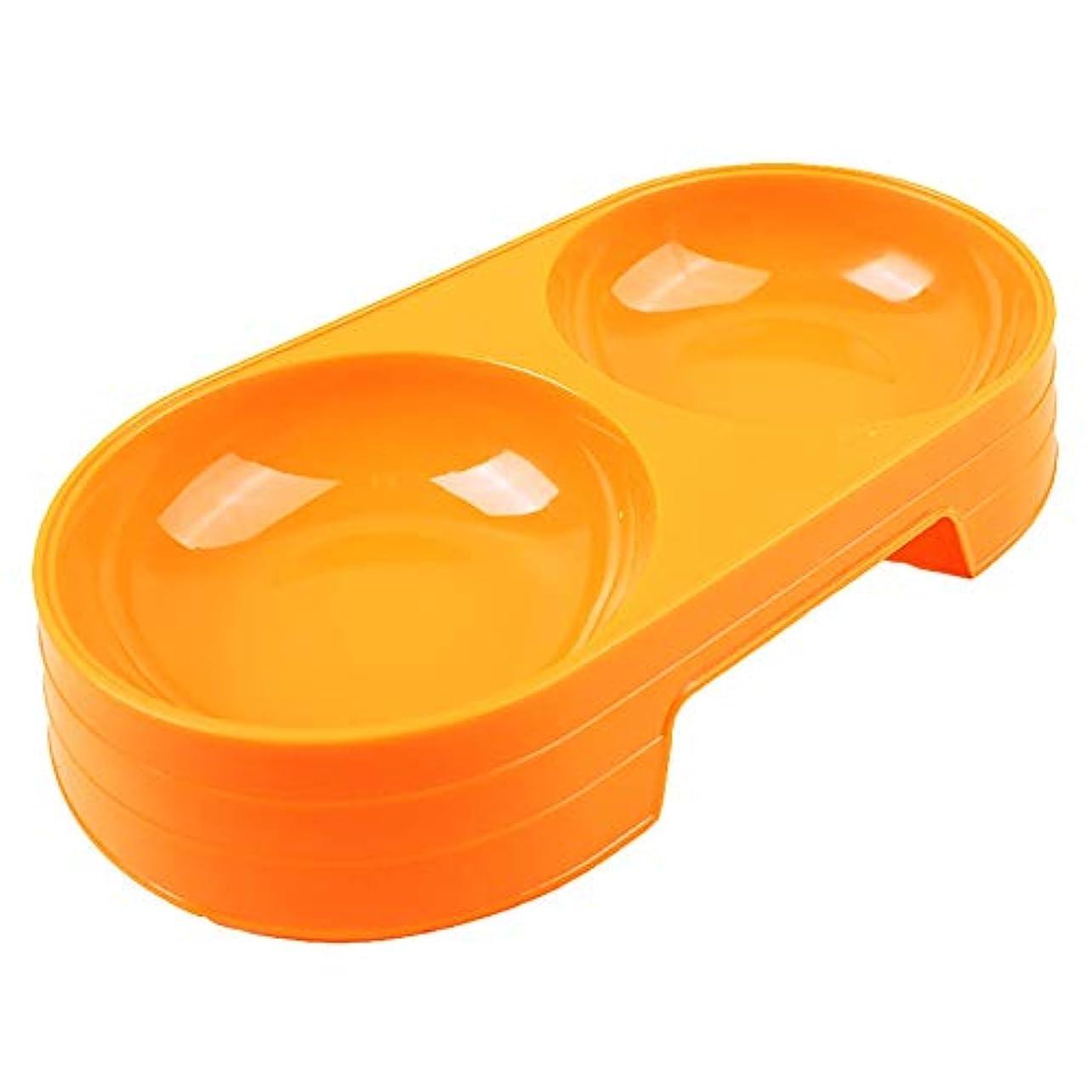 ペットボウ 食器 給水器 犬用 猫用 二つボウル付き(Orange/Standard