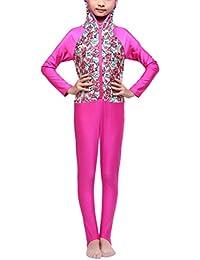 Zhhlinyuan 高品質 水着 Kids Girls Sun Protection Surfing Suits Muslims Modest Beach Swimsuit 4484#