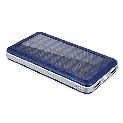 Aedon 超大容量20000mAh モバイルバッテリー 、ソーラーチャージャー 2USB出力ポート  地震、 旅行・ハイキングなどの必要品(電源が確保できなかった場合、ソーラーで充電可)  青色