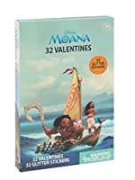 32ct Moana Valentine Cards with Glitterステッカー