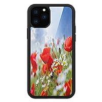iPhone 11 Pro Max 用 強化ガラスケース クリア 薄型 耐衝撃 黒 カバーケース 国 ポピーとデイジーの花が咲く、のどかな春のメドウ、晴れた空の雲ガーデンデザイン マルチカラー iPhone 11 Pro 2019用 iPhone11 Pro Maxケース用