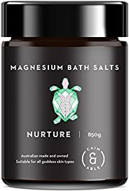 Caim & Able Scented Magnesium Bath Salts Flakes (Nurture 850g) Frankincense & Rose Essential Oils Pampering Spa Foot Soak Lu