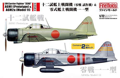 ファインモールド 1/72 航空機シリーズ 帝国海軍 十二試艦戦&零戦一一型 2機セット プラモデル FP34