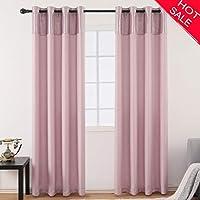 Jarl Home Morganリネンカーテンライナー寝室用ステッチ85%ピンク遮光カーテン63長さ居間用
