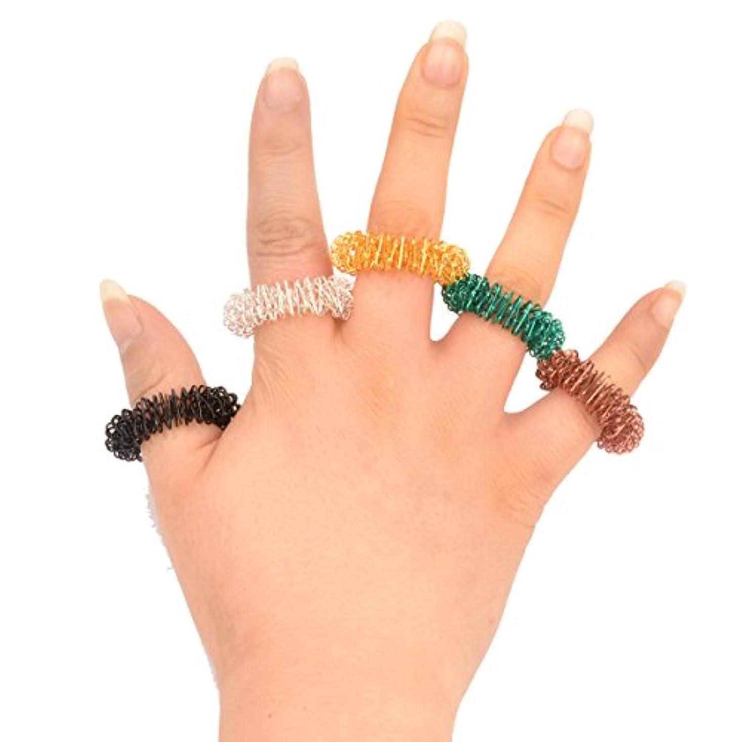 抵抗する植木シリーズ(Ckeyin) マッサージリング 5個入り 爪もみリング 色はランダムによって配送されます (5個)