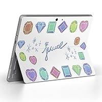 Surface go 専用スキンシール サーフェス go ノートブック ノートパソコン カバー ケース フィルム ステッカー アクセサリー 保護 ハート ジュエリー ダイヤ 014389