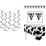 COW Spots PARTY Decorations - Plastic TABLECLOTH (140cm x 180cm ) - PENNANTS Banner (28cm x 3.7m) - Six (6) DANGLING Whirls SWIRLS (60cm ) BARNYARD Theme FARM Animal DECOR