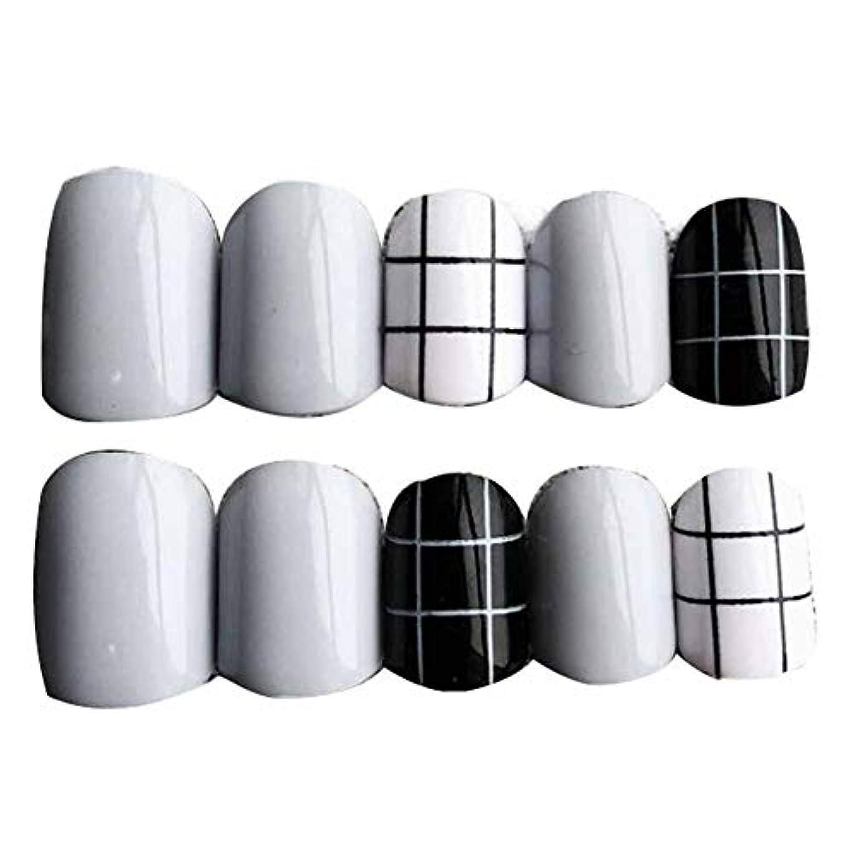 再びシンプトンクラブグレー/ブラック 丸い偽爪人工偽爪のヒント 装飾