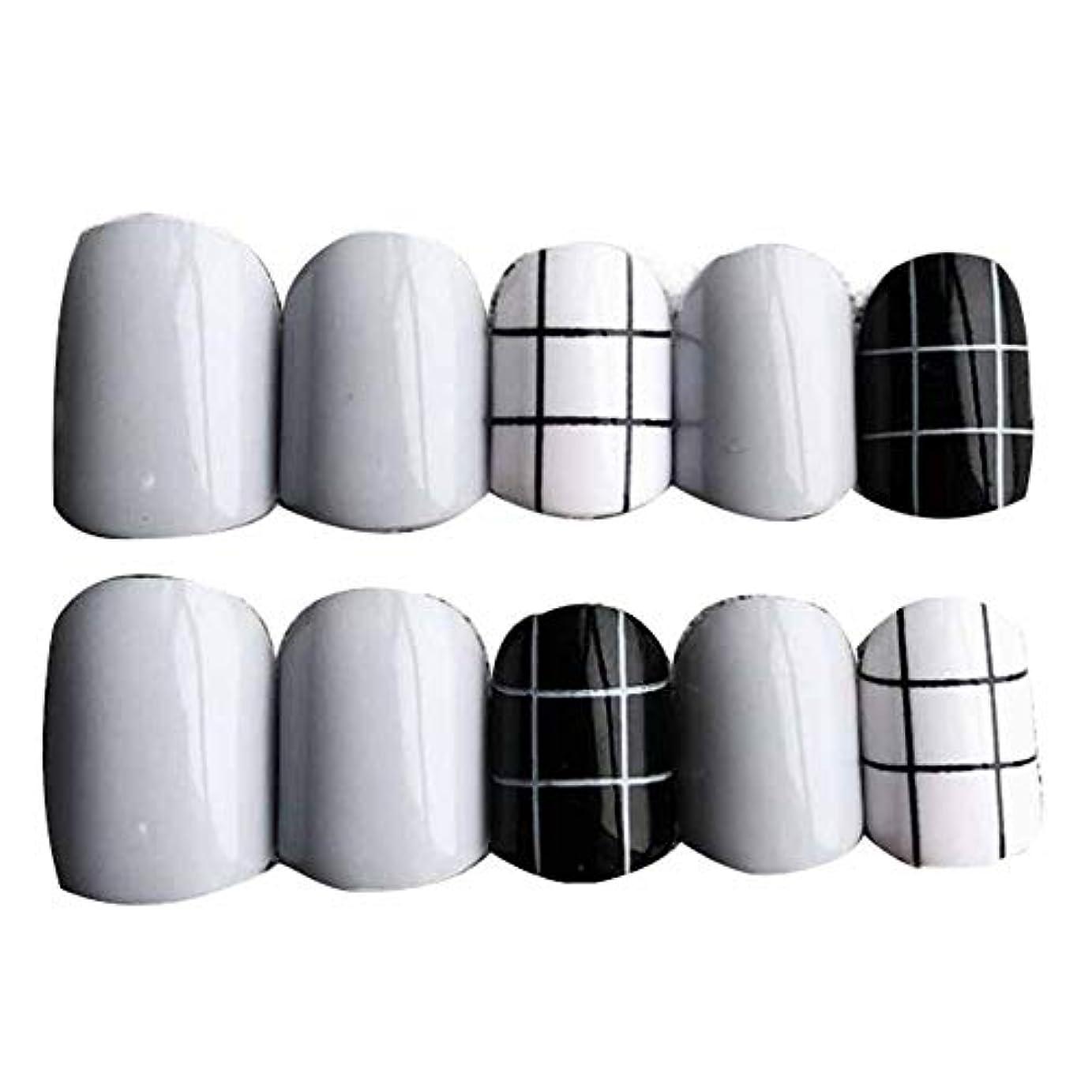 リビジョン汚す繕うグレー/ブラック 丸い偽爪人工偽爪のヒント 装飾