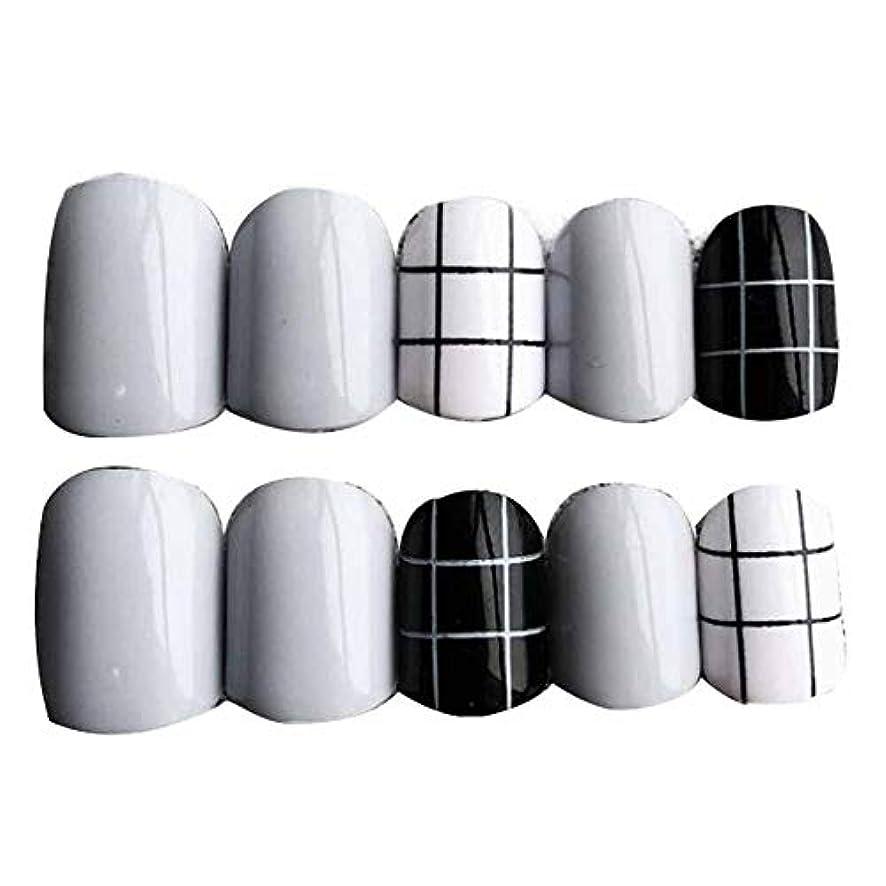 ペインギリック取り扱い推定するグレー/ブラック 丸い偽爪人工偽爪のヒント 装飾