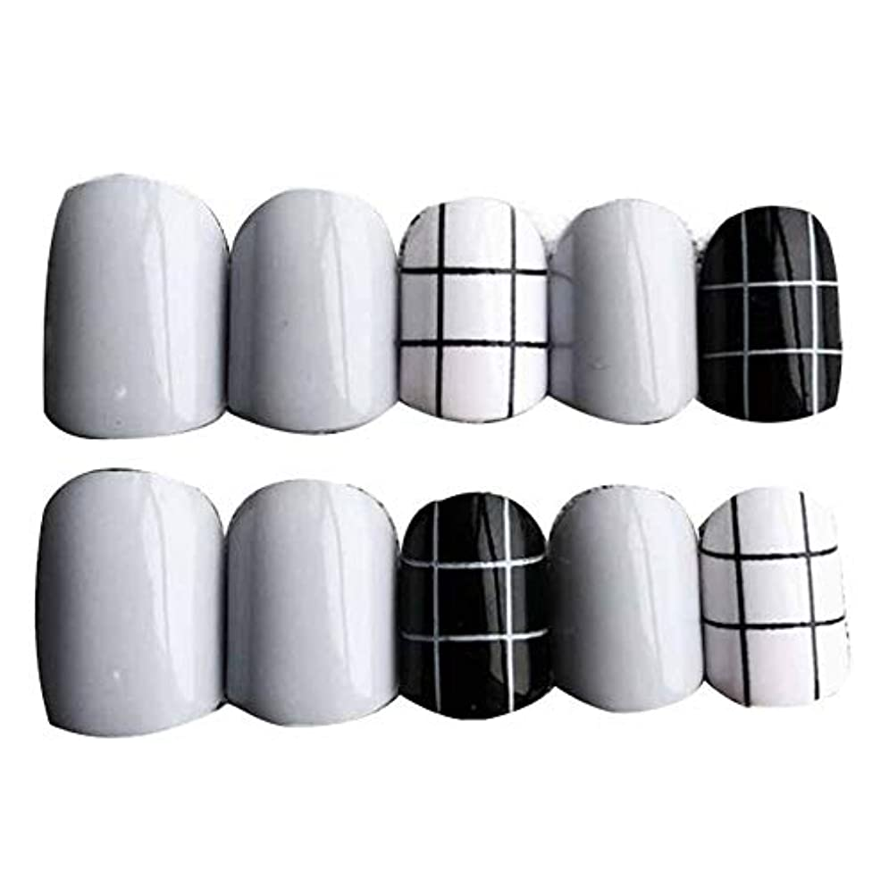 宿る借りる形状グレー/ブラック 丸い偽爪人工偽爪のヒント 装飾