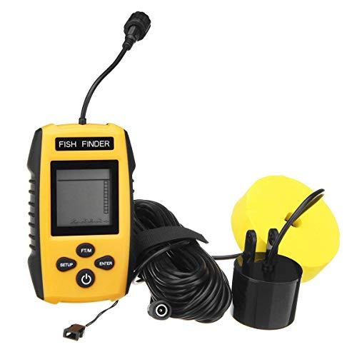 Ugetde ポータブル魚群探知機、魚群探知機魚群探知機 - 有線ソナーセンサーとカラーLCDディスプレイ付き魚探