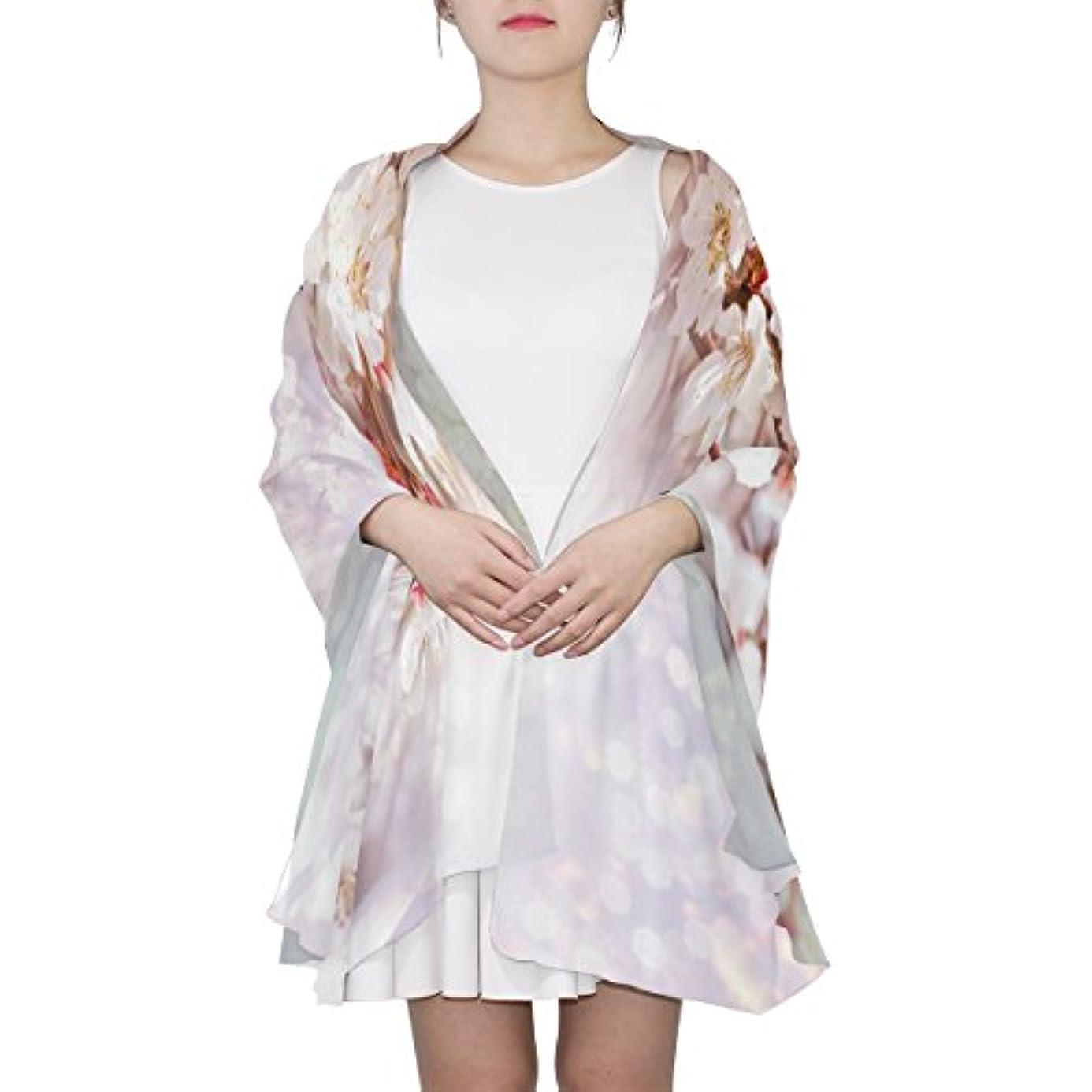 温度計マディソンレオナルドダGORIRA(ゴリラ) サクラ 花柄 ホワイト ロング 人気 おしゃれ 個性 スカーフ ストール バンダナ 肌触り抜群 薄手 プレゼント レディース やわらかい シフォン 絹のスカーフ 90x180cm