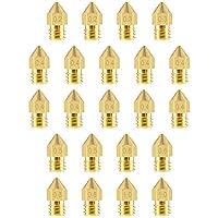 22個3DプリンターノズルMK8ノズル3Dプリンター用真鍮押出機ノズルプリントヘッドMakerbot Creality 0.2 mm、0.3 mm、0.4 mm、0.5 mm、0.6 mm、0.8 mm、1.0 mm
