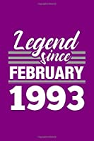 Legend Since February 1993 Notebook: Lined Journal - 6 x 9, 120 Pages, Affordable Gift, Purple Matte Finish