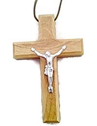 Large Christian Crucifixクロスオリーブ木製ペンダントHjW
