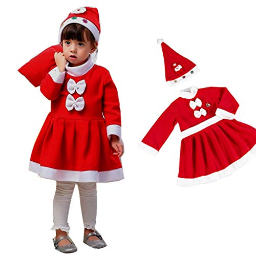 049f83b6a7802 Horara サンタ コスプレ ベビー キッズ クリスマス コスプレ衣装 子供 帽子ワンピースセット(女の子 2点セット、120cm)