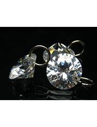 [ ハッピーボム ] キュービックジルコニア CZダイヤモンド ラウンドブリリアントカット 10mm 裸石 カン付き 2個セット ストラップ ペンダント ピアス 作成用 パワーストーン