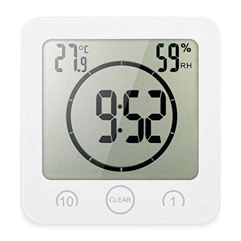 Annie life LCDデジタルウォールクロックデジタルバスルームクロック防水タイマー温度湿度ウォールシャワークロックキッチンタイマー (Color : White)