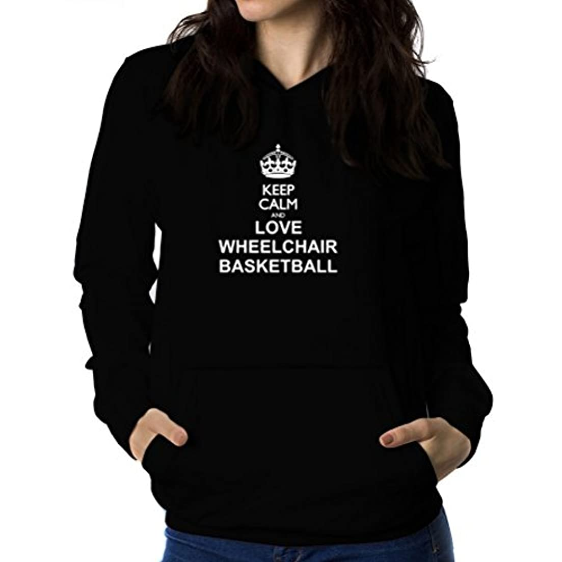 覚醒延ばす囚人Keep calm and love Wheelchair Basketball 女性 フーディー
