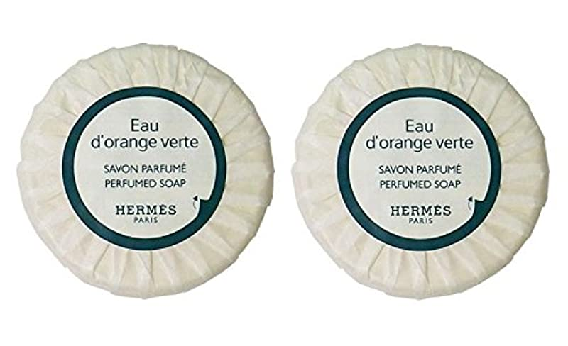 エルメス オードランジュヴェルト パヒュームソープ 丸型 ケース付き 25g×2個セット [並行輸入品]