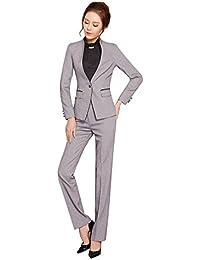 レディーススーツ スーツセット パンツスーツ OL制服 長袖 2点セット オフィス (グレー, XL)