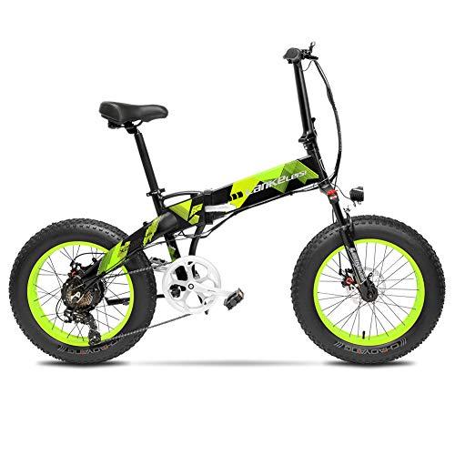 Cyrusher X2000 500W ミニ折り畳みアシスト自転車 軽量アルミフレーム フルサスペンション ファットバイク 7段速電動アシスト自転車 48V10ah (緑)
