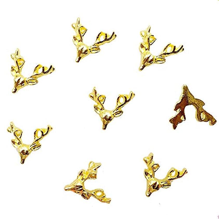 政策隠す人種クリスマスのための10pcs /バッグ日本新3Dネイルデコメタル合金かわいい鹿の頭のネイルアクセサリーDIYチャームネイルツール