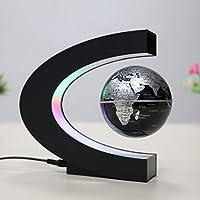 磁気浮上ボール、LEDライトC字型磁気浮上地球デスクトップ装飾色世界地図子供に適して,黒