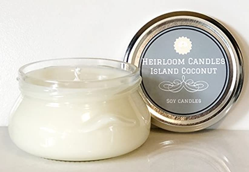 戸惑う切る割り込みCoconut Scented Soy Candle - Tropical Island Coconut - Handmade Glass Jar 6oz [並行輸入品]