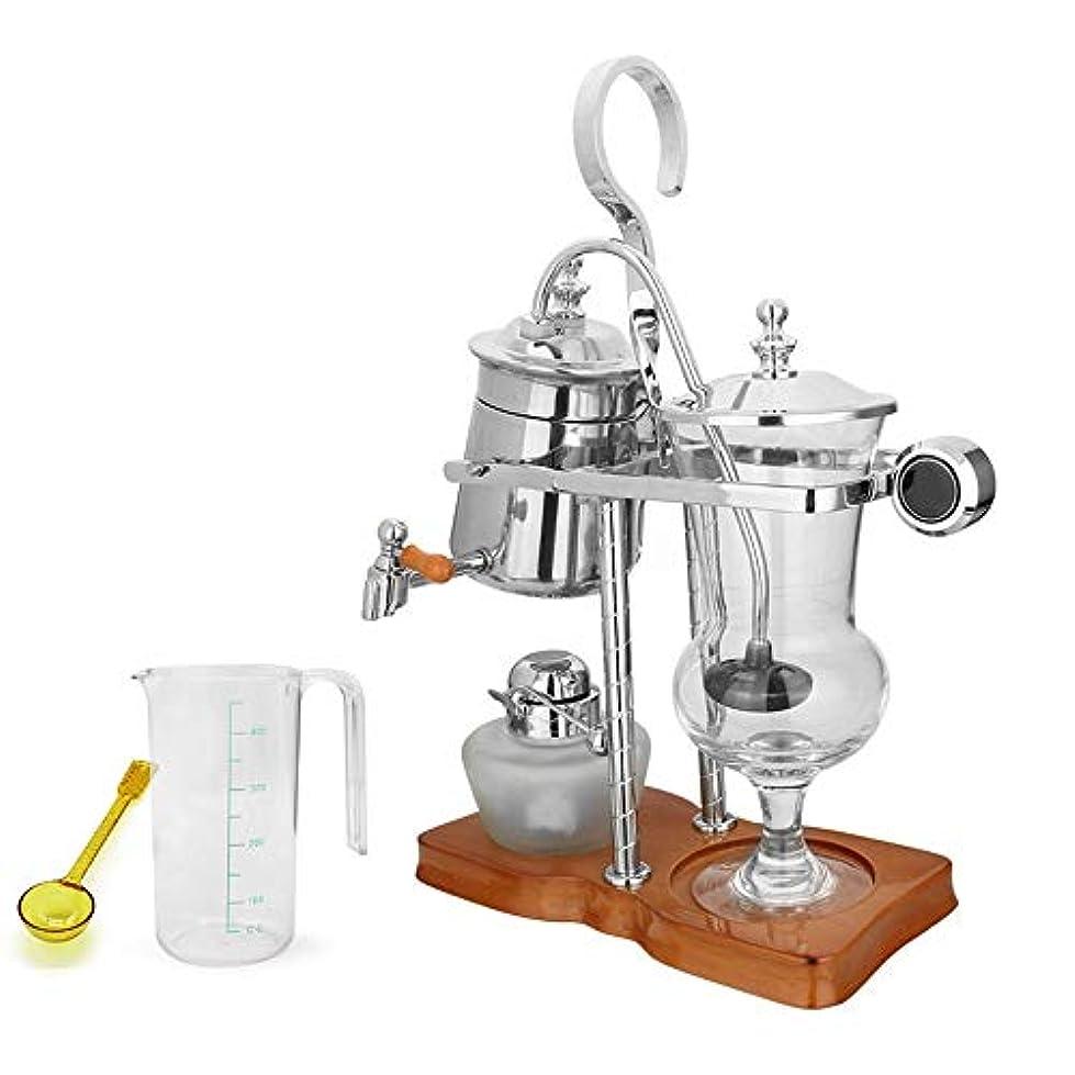 活性化する驚いたことに快適プロのコーヒーメーカー コーヒーアプライアンス家庭サイフォンコーヒーメーカーアルコールランプ手作りのコーヒーメーカー宮殿スタイルサイフォンポット (色 : 銀, サイズ : 24x12x37cm)