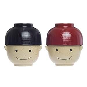 サンアート かわいい食器 「 まんぷくシリーズ こども 食器(磁器と樹脂) 」 2人用 お揃い 汁椀・茶碗 セット(レンジ・食洗機OK) 370g SAN2551