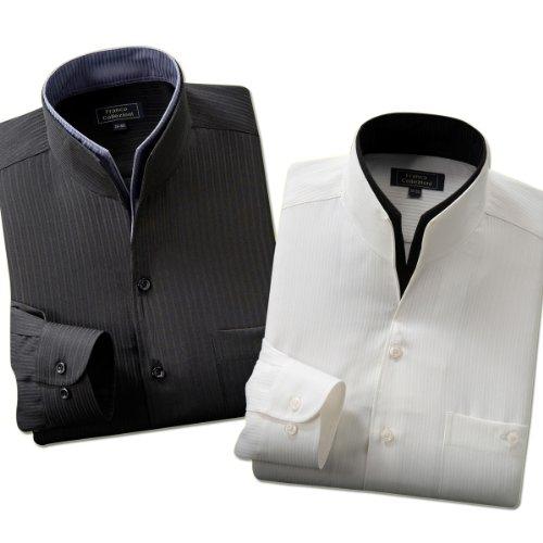 (フランココレツィオーニ)Franco collezioni 二重変化衿ドレスシャツ2枚組 50238  ホワイト ブラック 3L