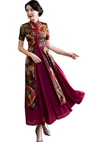 [해외](상하이 이야기) Shanghai Story 긴 길이 차이나 옷 베트남 아오자이 의상 칼라와 소매 여성 베트남 드레스 중국 드레스 세트/(Shanghai Story) Shanghai Story Long Length China Clothes Vietnamese Ao Zai Native Costume Short Sleeve with Coll...
