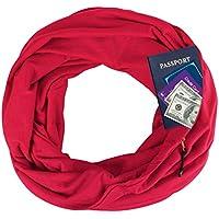 EGELBEL Women's Infinity Scarf with Pocket for Travel,Hidden Zipper,Best Xmas Gift