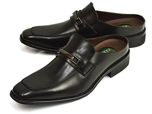 (ジーノ) ZEENO ビジネス サンダル ビジネスシューズ メンズ 足ムレ防止 スリッポン サボサンダル クールビズ 低反発 脚長 靴 紳士靴 27cm ze111 Black ブラック 黒色