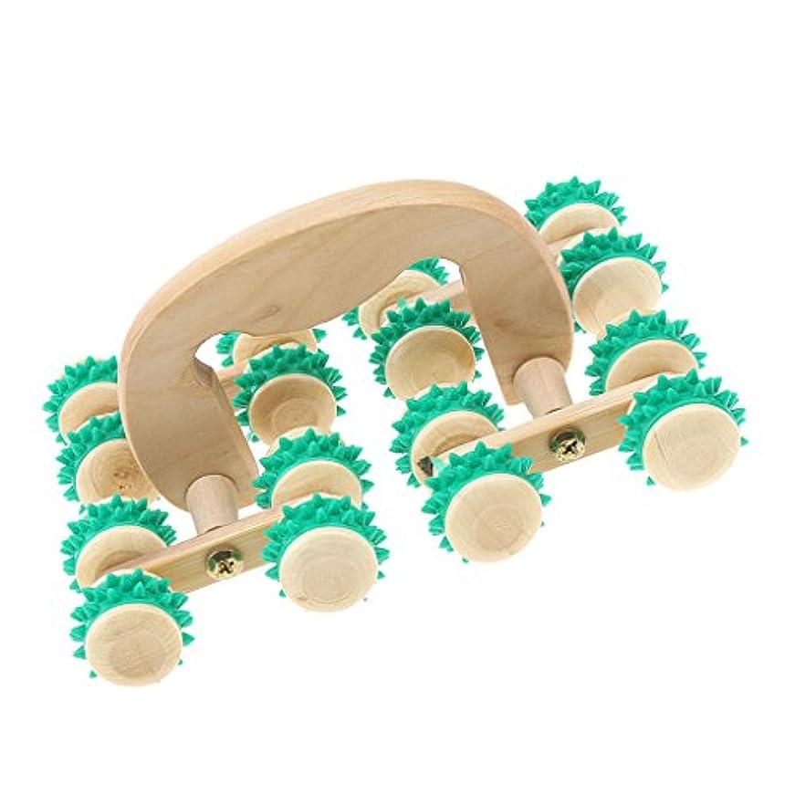 コモランマ見習い振り返るdailymall 木製のゴム製引き金ポイントボディ腕の足のマッサージャーのマッサージローラー16の車輪