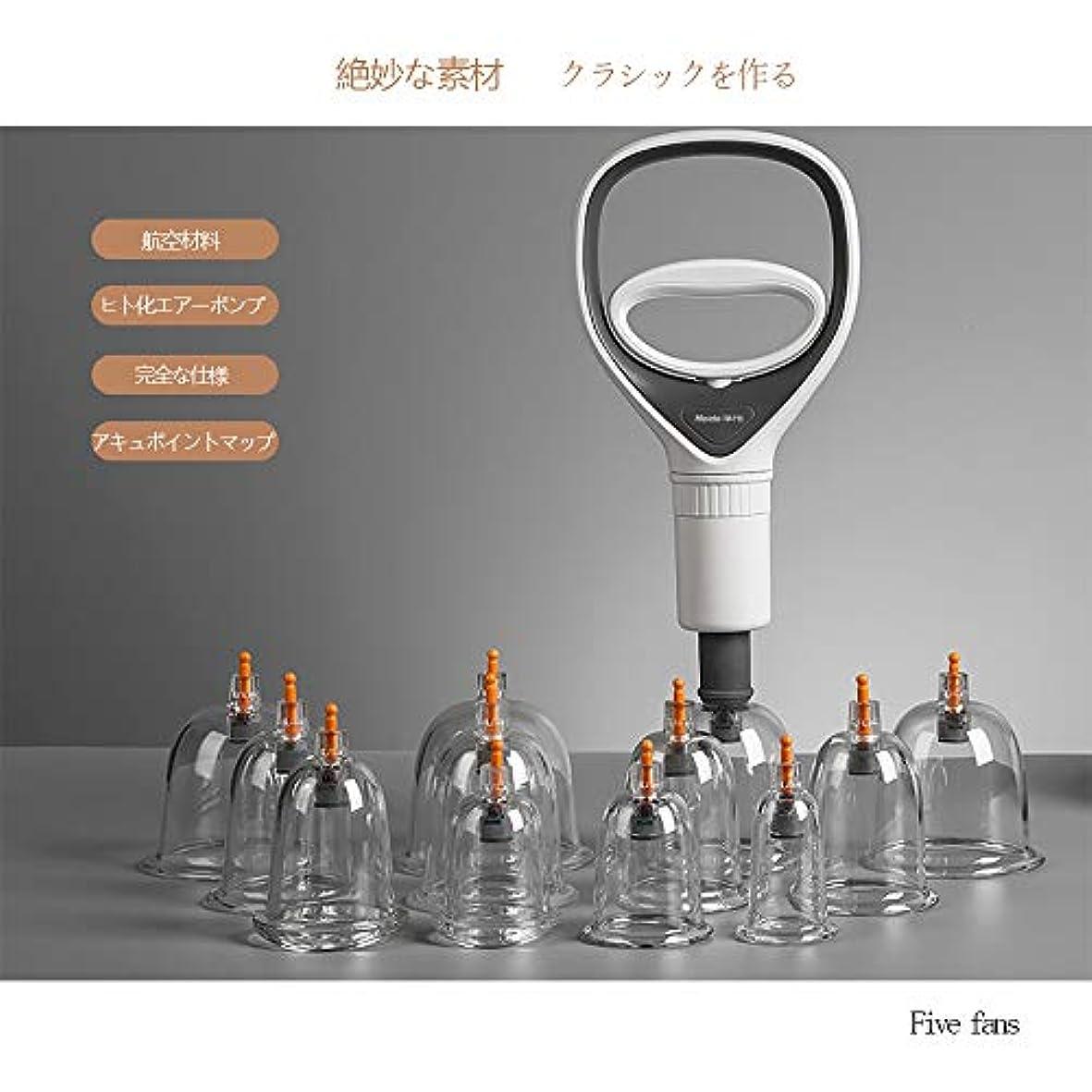意図薬用肖像画カッピング 吸い玉 マッサージカップ 磁気 ポンプ付きカッピングセット 疲労解消 血液の循環を刺激 各部位対応8種類 12個セット(ギフトボックス付き)