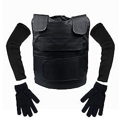 来慶(ライケイ) 防刃 ベスト + 手袋 + アームカバー 3点セット フリーサイズ 防刃 チョッキ 暴漢 対策 警備 警護 護身 サバゲー にも。